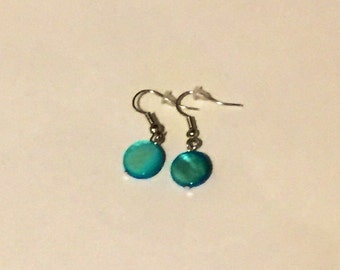 Blue Beaded earrings - blue earrings - blue beads