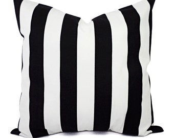 Two Black and White Pillow Covers - Striped Decorative Throw Pillow Covers - 12x16 12x18 14x14 16x16 18x18 20x20 22x22 24x24 26x26 Cover
