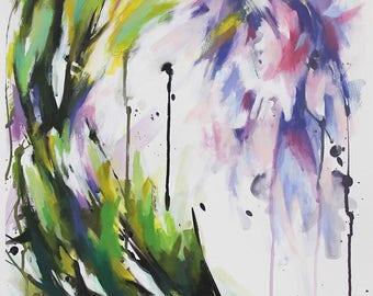 Peinture abstraite à l'acrylique, fleurs de glycine mauve et rose, Tableau contemporain unique, oeuvre d'art originale