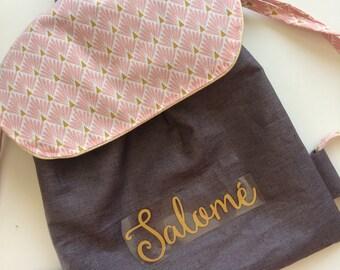 Sac à dos enfan personnalisé, sac crèche, sac maternelle en lin enduit imperméable mauve