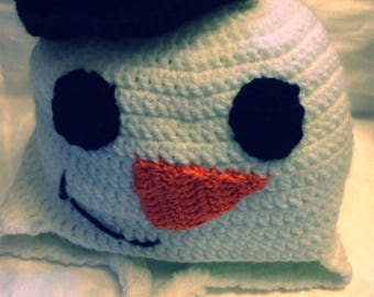 """""""Snowman"""" Peruvian hat for baby from birth to two years"""