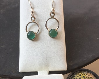 Silver green onyx earrings