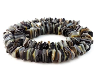Square Cut Black Lip Shell Beads (16 Inches Strand)