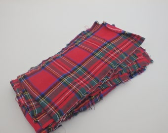 Royal Stewart Tartan Flannel Bundle, Flannel Fabric Scrap Bundle, Remnants - 100% Cotton