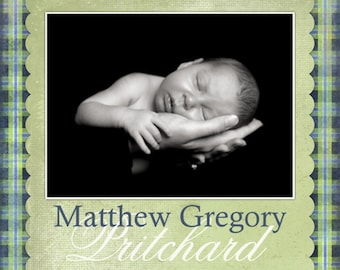Birth Announcement Design or Adoption Announcement Design, CUSTOM for YOU - 4x6 or 5x7 photo card