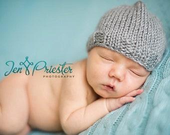 SALE Baby Hat, Newborn Baby Hat, Baby Photo Prop, Knit Newborn Hat, Gray Baby Hat, Baby Photo Prop