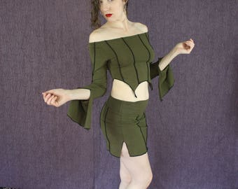 Striped Mini Skirt in Organic Forest Green Fabric