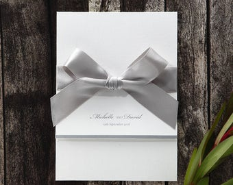 Traditional Folded Wedding Invitation, Grey Satin Bow - L9765