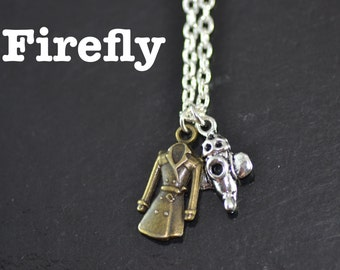 Firefly Necklace, Browncoat and Serenity Ship, Fandom Gift, NF014