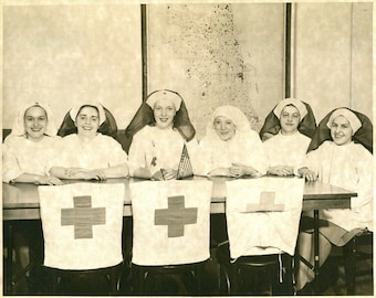 Vintage Large Format Photograph of Group of Red Cross Nurses 1930's, Original Found Photo, Vernacular Photography