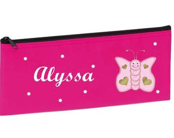 School Kit pink butterfly personalized with name