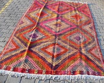 free shipping VINTAGE TURKİSH ousak cecim  kilim Anatolian handwoven kilim rug decorative kilim - SİZE : 74'' X 122'' ( 185 cm X 305 cm)