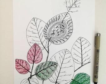 Spiritual art / Leaf art / Zentangle Art / Wall decor / Banyan Tree / Home decor/ Spiritual wall decor / Divine art / Black and White