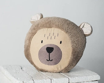 Soft teddy bear pillow - neutral baby nursery  decor - brown sleeping baby bear cushion - decorative nursery pillow