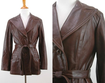 70s Brown Belted Leather Jacket - Fitted Leather Jacket - 1970s Hippie Jacket - Size Small
