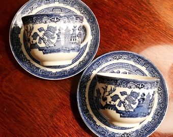 Set of two blue willow cups and saucers by Johnson Brothers England.