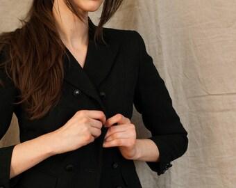 Black Cropped Boxy Suit Jacket