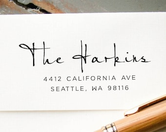Self Inking Address Stamp, Custom Rubber Stamp, Personalized Address Stamp, Return Address Stamp, Housewarming, Wedding Hand Calligraphy