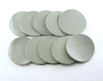 """1.5"""" Light Grey Leather Circles - 10 Die Cut Leather Circles - Leather Circle Appliques -  Leather Disks - Craft Leather Circles"""