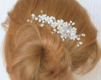 Aphrodite - Freshwater pearl Swarovski Crystal Bridal Comb