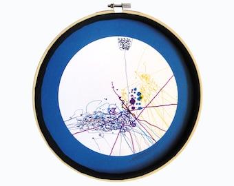 """Art déco abstrait : """"L'étoile du Nord"""", dessin techniques mixtes, mandala, décoration originale, art intuitif, déco cercle, pièce unique"""