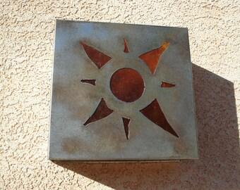 Sun Motif Steel Light Sconce
