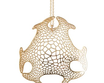 Haeckel Pendant | etched brass | Corollaria collection