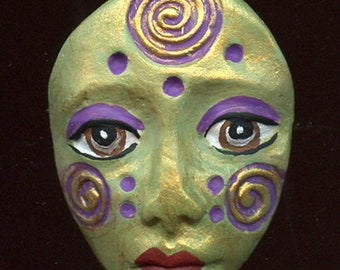 Polymer Clay One of a Kind  Spirit Doll  Green, Purple, Gold  Detailed Face Cab Un Drilled SF 11