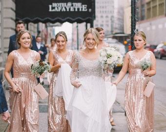 Rose gold bridesmaid dress / 'Rosie' / Sequin bridesmaid dress / Wedding party / Blush bridesmaids / Flattering sparkle / Junior bridesmaid