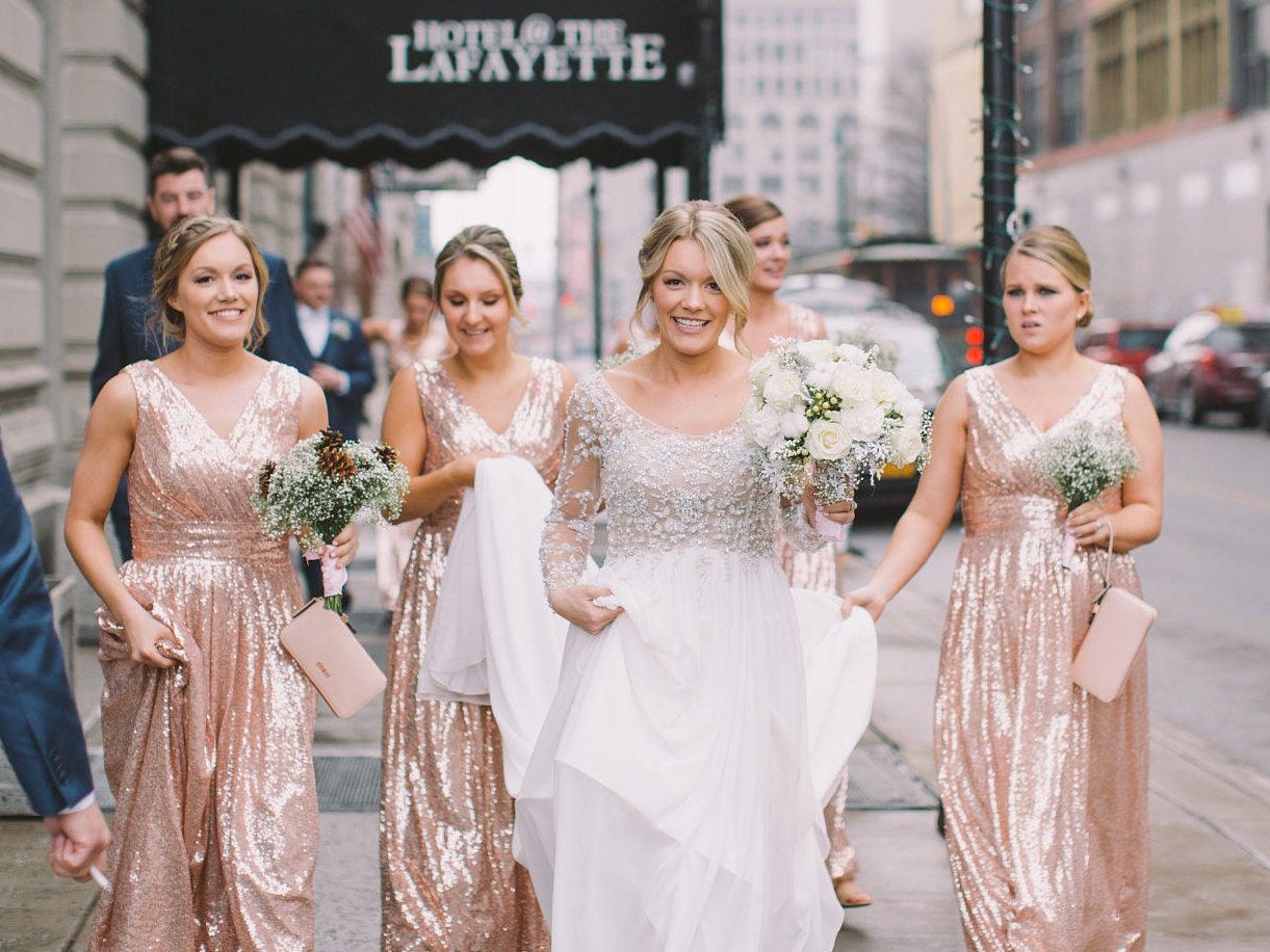 Rose gold bridesmaid dress rosie sequin zoom ombrellifo Image collections
