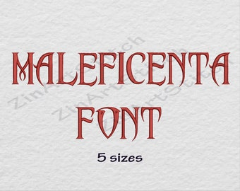 Disney's Maleficent Machine Embroidery Font Embroidery Designs Monogram Alphabet 5 Sizes 8 Formats
