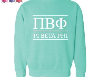 Pi Beta Phi  // Pi Phi  // Sorority Comfort Color Greek Letters Sweatshirt // Choose Your Color