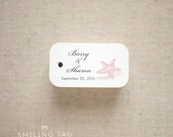 Beach seaside theme Wedding Favor Tags - Beach Gift Tags - Starfish Thank you tags - Beach Wedding Favor Tags - Set of 40 (Item code: J547)