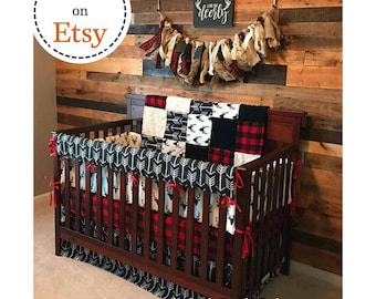 Baby Boy Crib Bedding - Buck Deer, Black Arrows, Lodge Red Black Buffalo Check, and Black Crib Bedding Ensemble
