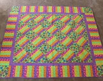 Pastel Bright Striped Railfence Quilt