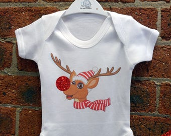 Glitter - Rudolph The Red Nose Reindeer Baby Vest / Baby Grow / Baby Playsuit