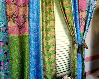 Boho Curtains Sari Saree Patchwork BLUE Light Gypsy Bohemian Curtain HippieWild India Silk Boho Hippie Hippy multicolor IN STOCK ships today