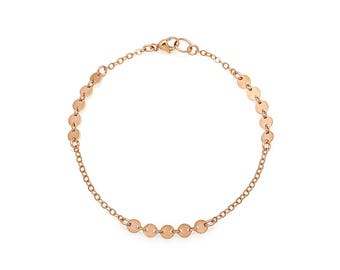 Handmade Dainty Rose Gold Coin Bracelet with Sparkling Details; a Lovely Stacking Bracelet!