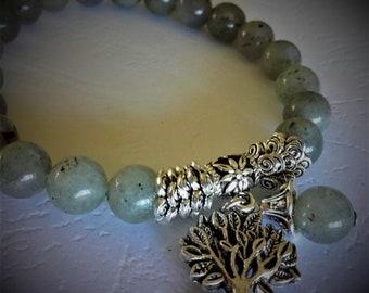 Labradorite and tree of life bracelet