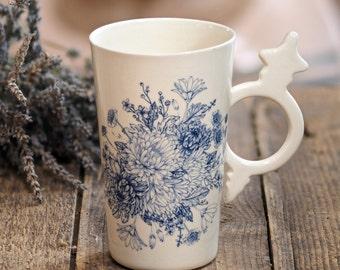 Flower Cup, Floral Mug, Hostess Gift Mug, Mug Pottery, Gift For Her, Summer Drinkware, White Tea Cup, Porcelain Cup, Large Coffee Mug