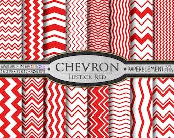Lipstick Red Chevron Digital Paper Pack - Instant Download - Digital Scrapbook Paper with Chevron Background