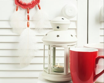 Coral Dream Catcher, small dreamcatcher,  car dream catcher, boho style, wall hanging, wall decor, handmade dreamcatcher