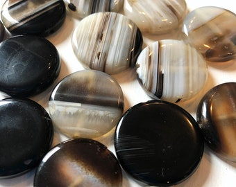 25mm Puff Round Coin Black & Clear Agate Stone Beads