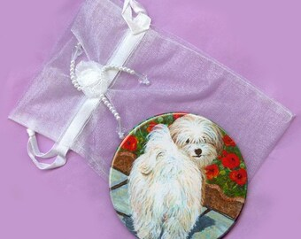 Havanese Dog with Poppies Purse Mirror Round 2 sizes available