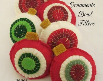 ORNAMENTS, BOWL FILLERS,  Set of Six,  Red  and White,  Felt With Pennies,  Holiday Décor, Tree Ornaments, Hostess Gift, Package Tie-ons