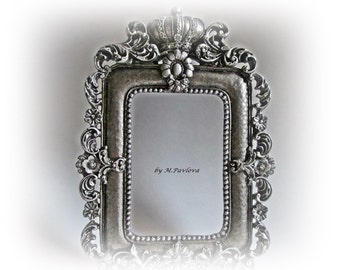 Wedding Photo Prop Baroque Frame Silver Ornate Frame Silver Picture Frame Baroque Wedding Picture Frame Wall Hanging Frame Wedding Gift