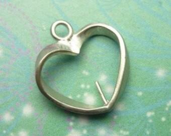 Vintage Sterling Silver Dangle Charm - Heart Frame