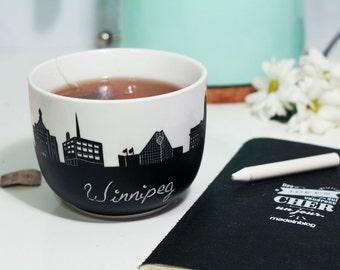jumbo chalk mug skyline Winnipeg Provencher bridge Boniface cathedral CBC manitoba Royal canadian mint write on it chalk coffee tea