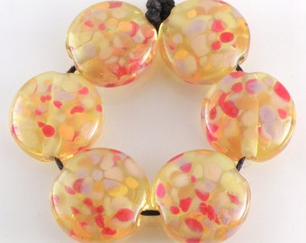 Summer Fire SRA Lampwork Handmade Artisan Glass Lentil Beads 18mm Made to Order Set of 6