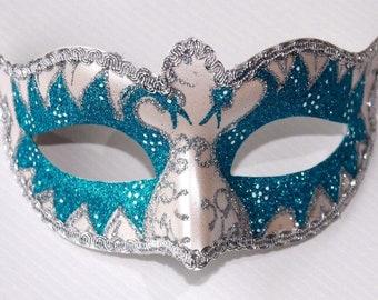 Turquoise Swan Lake Masquerade Mask